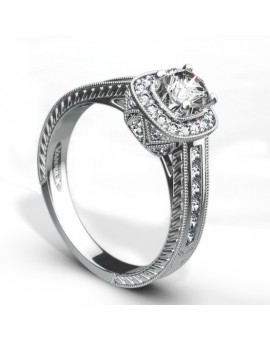 Hand Engraved Perfect Profile Diamond Ring Style 18R71DCZ