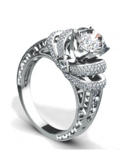 Hand Engraved Perfect Profile Diamond Ring Style 18RGL00188DCZ