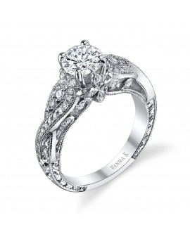 Hand Engraved Perfect Profile Diamond Ring Style 18RGL00272DCZ