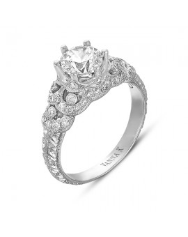 Hand Engraved Perfect Profile Diamond Ring Style 18RGL00375DCZ