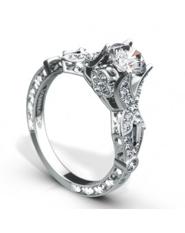 Hand Engraved Perfect Profile Diamond Ring Style 18RGL00384DCZ