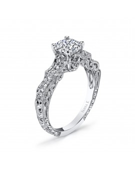 Hand Engraved Perfect Profile Diamond Ring Style 18RGL00442DCZ