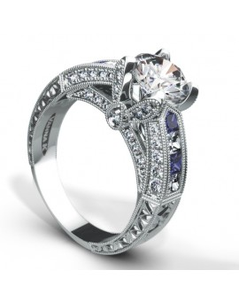 Hand Engraved Perfect Profile Diamond Ring Style 18RGL0073SDCZ