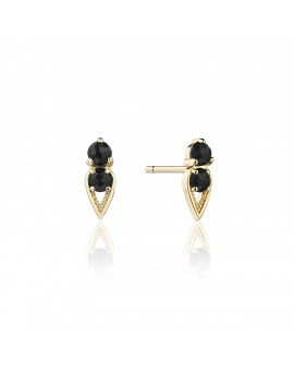 Petite Open Crescent Earrings with Black Onyx