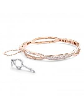 Promise Bracelet Oval, Rose Gold with Pav Diamonds