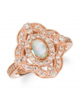 14K STRAWBERRY GOLD DIAMOND OPAL RING