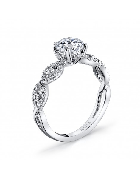 Vintage Inspired Diamond Pave Set Solea Ring Style 18R437DCZ