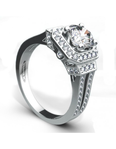Vintage Inspired Diamond Pave Set Solea Ring Style 18R70DCZ