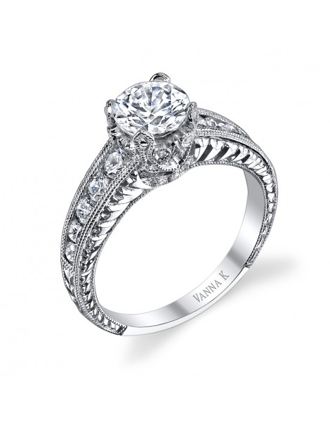 Hand Engraved Perfect Profile Diamond Ring Style 18R863DCZ