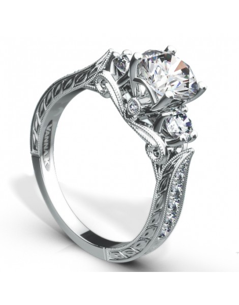Hand Engraved Perfect Profile Diamond Ring Style 18R997DCZ