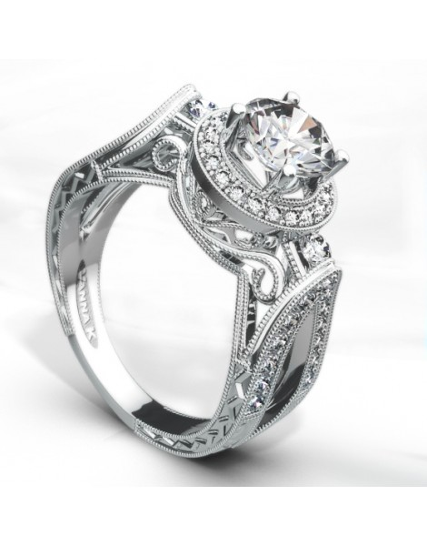 Hand Engraved Perfect Profile Diamond Ring Style 18RGL00205DCZ