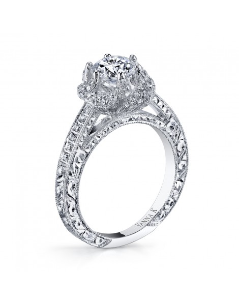 Hand Engraved Perfect Profile Diamond Ring Style 18RGL00238DCZ