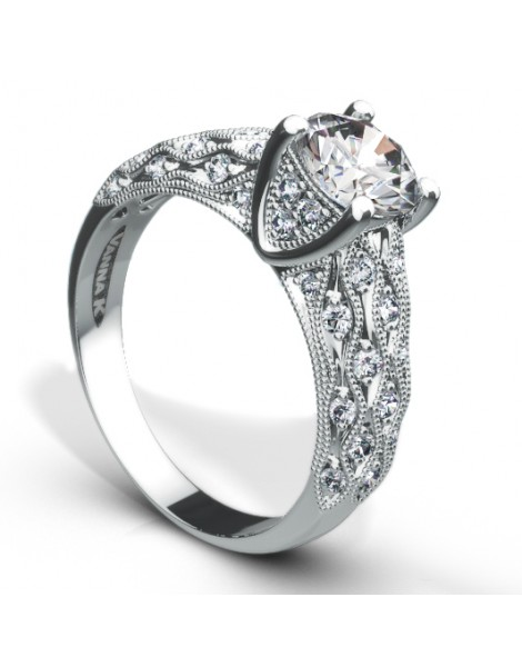Vintage Inspired Diamond Pave Set Solea Ring Style 18RGL00254DCZ