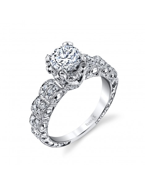 Hand Engraved Perfect Profile Diamond Ring Style 18RGL00274DCZ