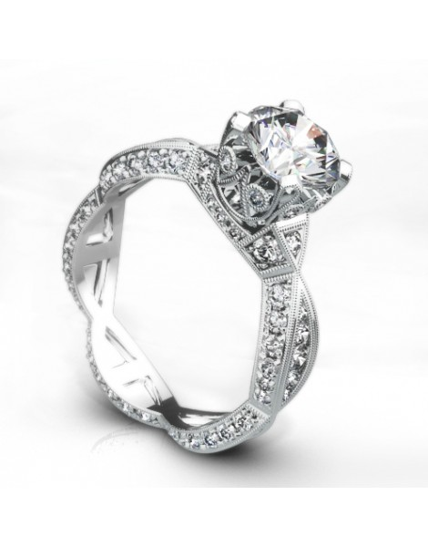 Vintage Inspired Diamond Pave Set Solea Ring Style 18RGL00295DCZ