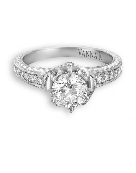 Hand Engraved Perfect Profile Diamond Ring Style 18RGL00354DCZ