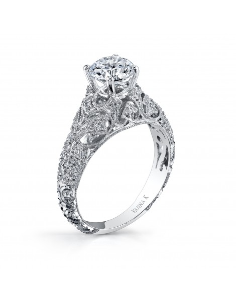 Hand Engraved Perfect Profile Diamond Ring Style 18RGL00425DCZ