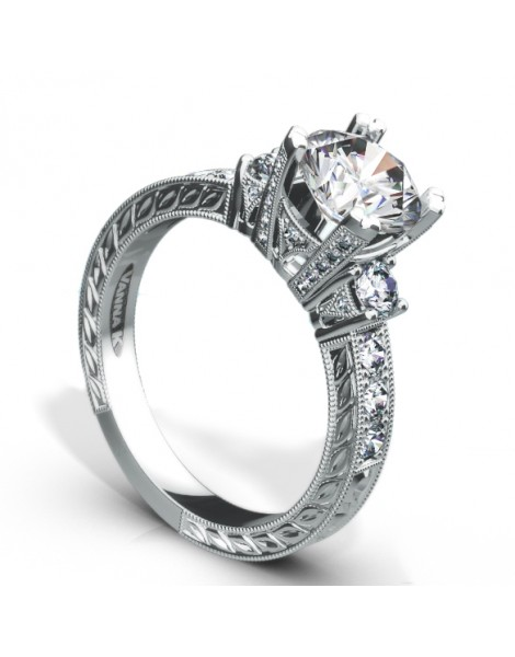Hand Engraved Perfect Profile Diamond Ring Style 18RGL00640DCZ