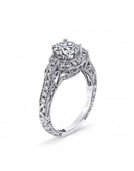 Hand Engraved Perfect Profile Diamond Ring Style 18RGL416DCZ