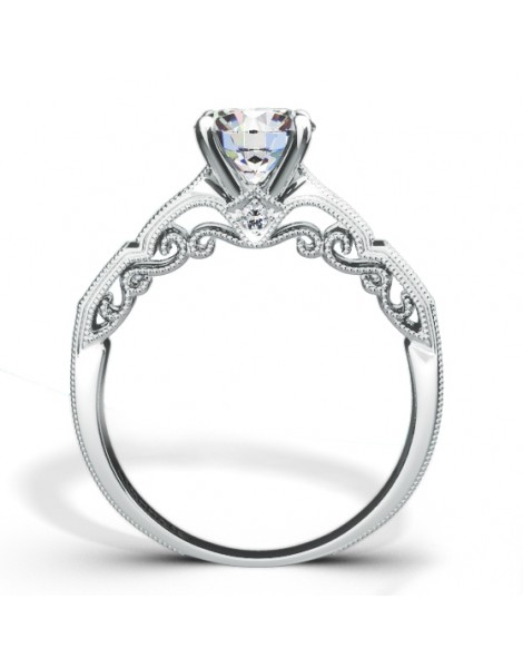 Hand Engraved Perfect Profile Diamond Ring Style 18RGL469DCZ