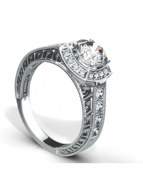 Hand Engraved Perfect Profile Diamond Ring Style 18RGL667DCZ
