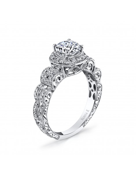 Hand Engraved Perfect Profile Diamond Ring Style 18RGL740DCZ