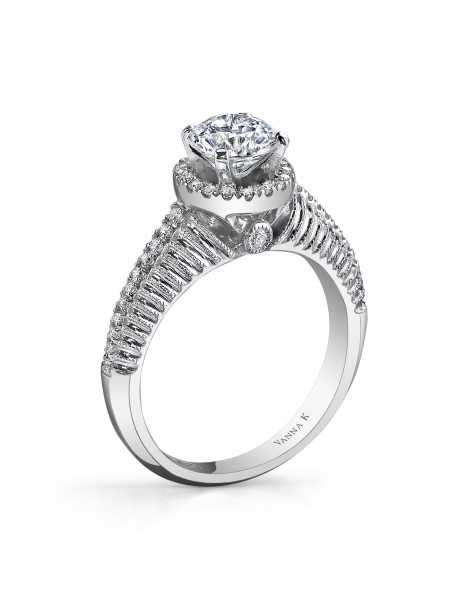 Hand Engraved Perfect Profile Diamond Ring Style 18RM55103DCZ