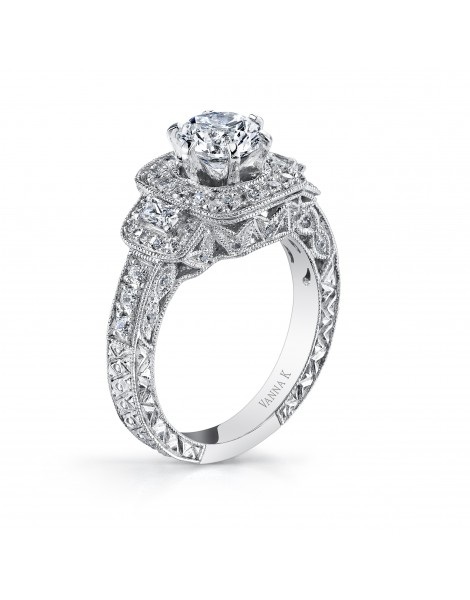Hand Engraved Perfect Profile Diamond Ring Style 18RO2335DCZ