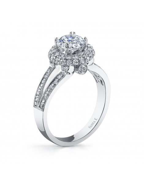Vintage Inspired Diamond Pave Set Solea Ring Style 18RO4655DCZ